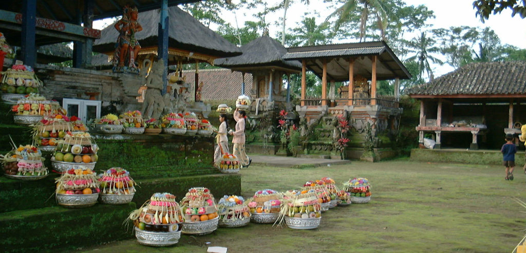 Harvest offerings at a subak temple