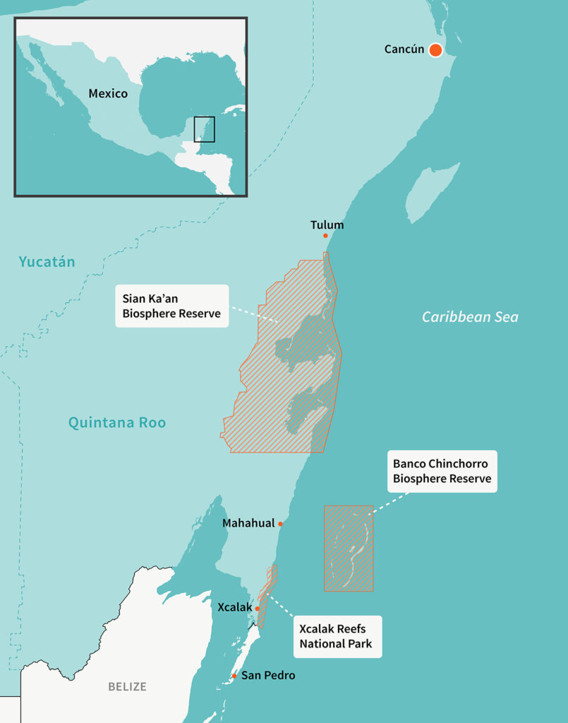 map of Quintana Roo coastline on the Caribbean Sea, with Cancun, Tulum, Mahahual, and Xcalak marked, as well as two big bioreserves