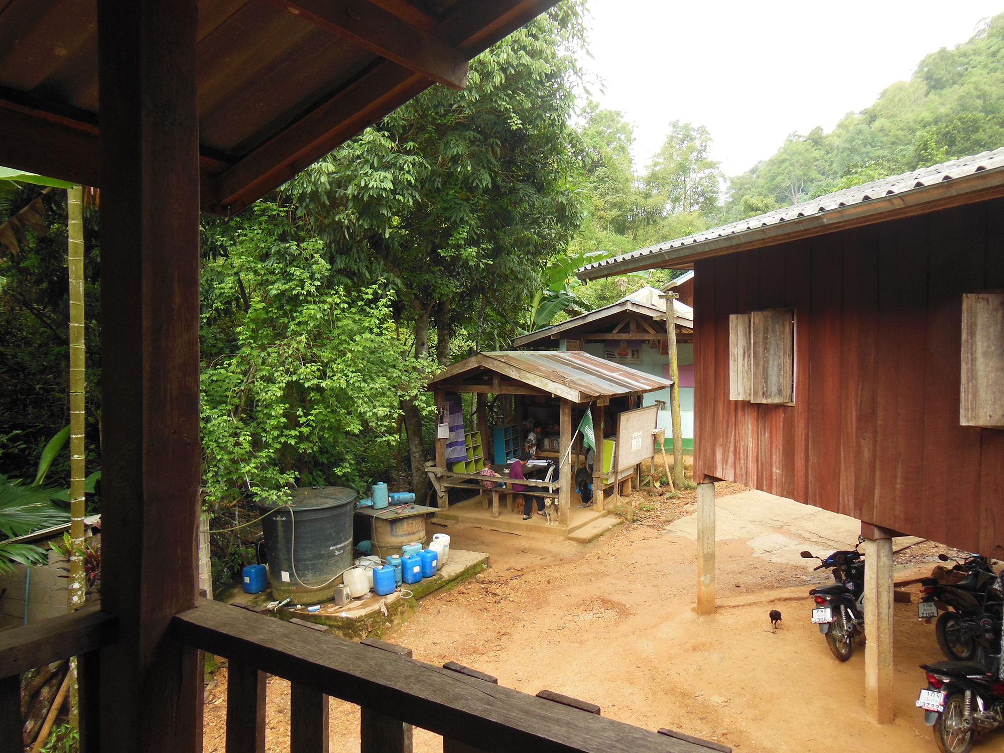 View from the balcony: The library sits next to the school in the neatly maintained village of Hin Lad Nai. Copyright: Pernilla Malmer.