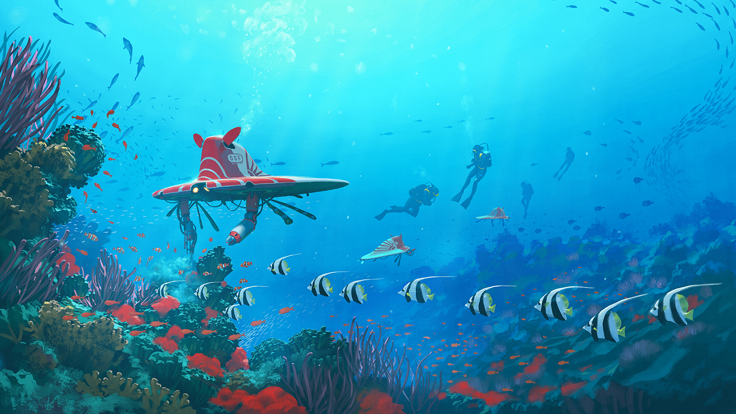 "Bringing the ocean back from the brink: humans and robots maintain healthy ecosystems and well-managed fisheries, in a scenario where humans have figured out how to restore coral reef ecosystems and clean the seas with the help of ""ecologically literate technology"". Courtesy of Simon Stålenhag."