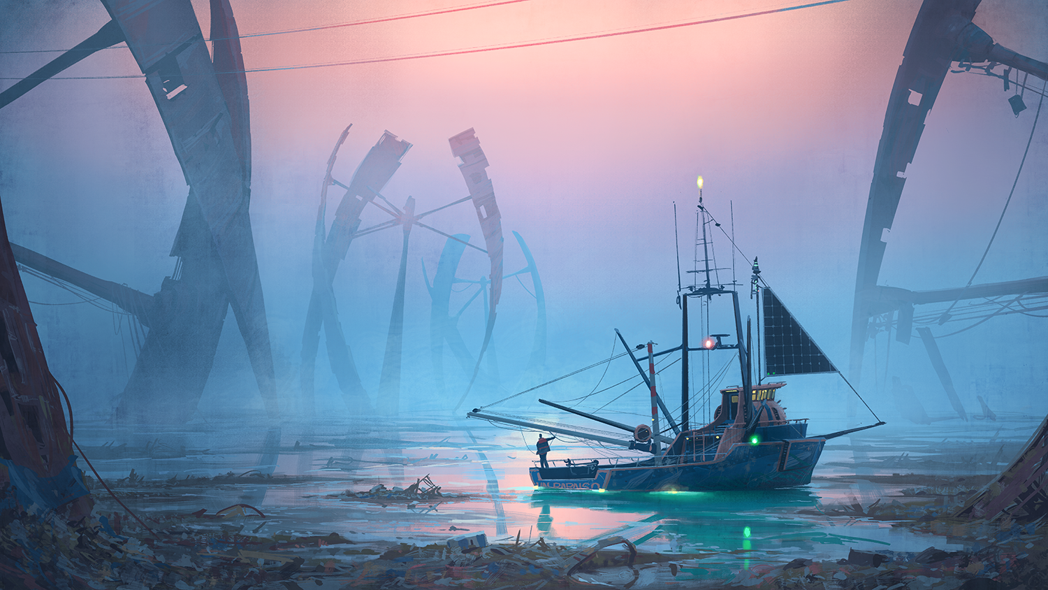 Rime of the last fisherman: For the last human rumoured to be fishing on Earth, what if there is nothing left to catch? Courtesy of Simon Stålenhag.