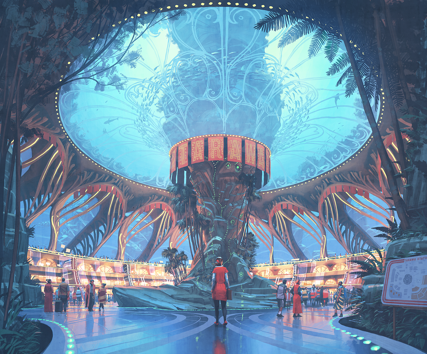 Rising waters: Tarawa Station serves An article about the Seacology The underwater Tarawa Station transit hub connects submarine residence domes and public spaces, serving the small island states that banded together as sea levels rose. Courtesy of Simon Stålenhag.