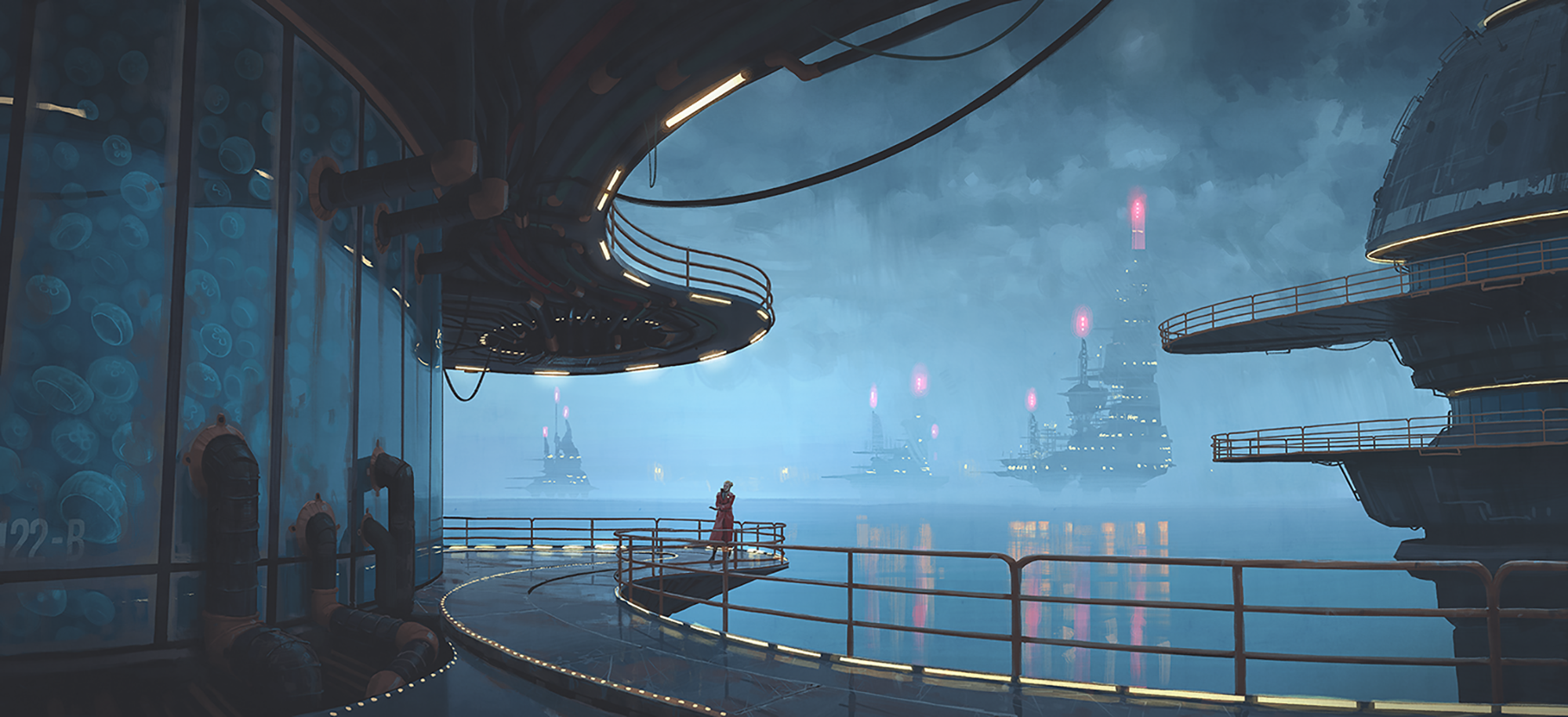Fish Inc.: Imagine if the ocean became a jellyfish protein factory. Courtesy of Simon Stålenhag.