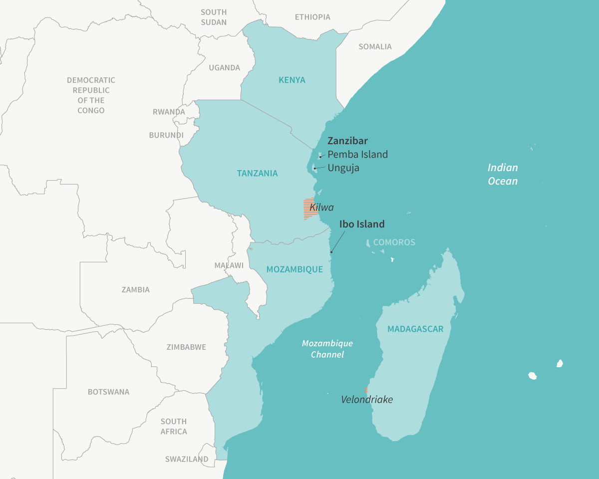 The western Indian Ocean region stretches from Somalia to the tip of South Africa, and includes islands in the Indian Ocean as well. Mapped here are sites mentioned in the story. Image: E. Wikander/Azote.