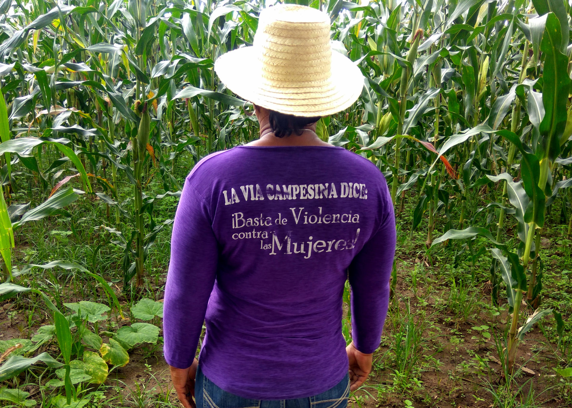 Nohemi Belinda Zuniga Lopez and her friends run a collective growing sweetcorn and beans. They are part of the international organisation La Vía Campesina, that also takes action on violence against women. Photo: S. Umachandran