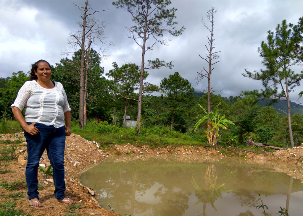 Sonia Isabel Triminio, a member of La Vía Campesina, and her neighbours have dug a pond to secure water for the dry season. Photo: S. Umachandran