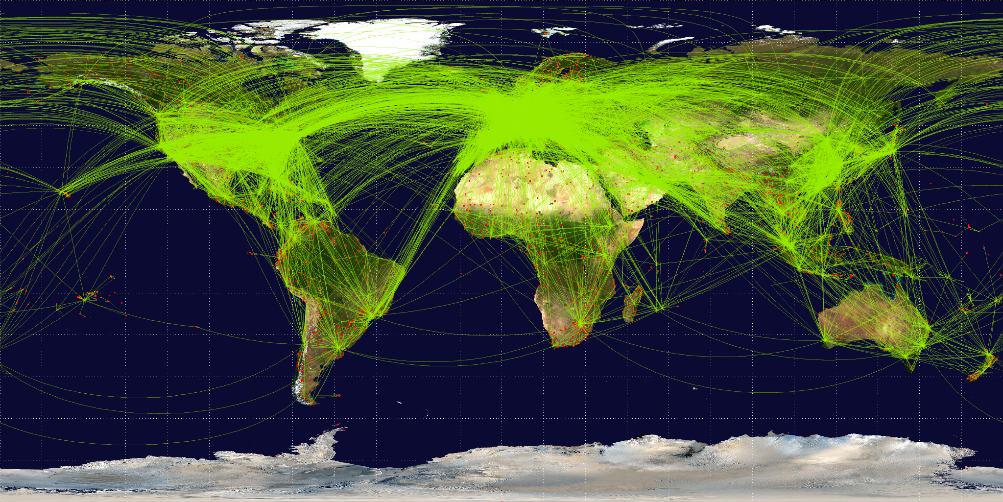 More than 54,000 air travel routes were scheduled for 2008, according to Airline Route Mapper. Image: Jpatokal, basemap from NASA, rendering by OpenFlights (Open Database License).