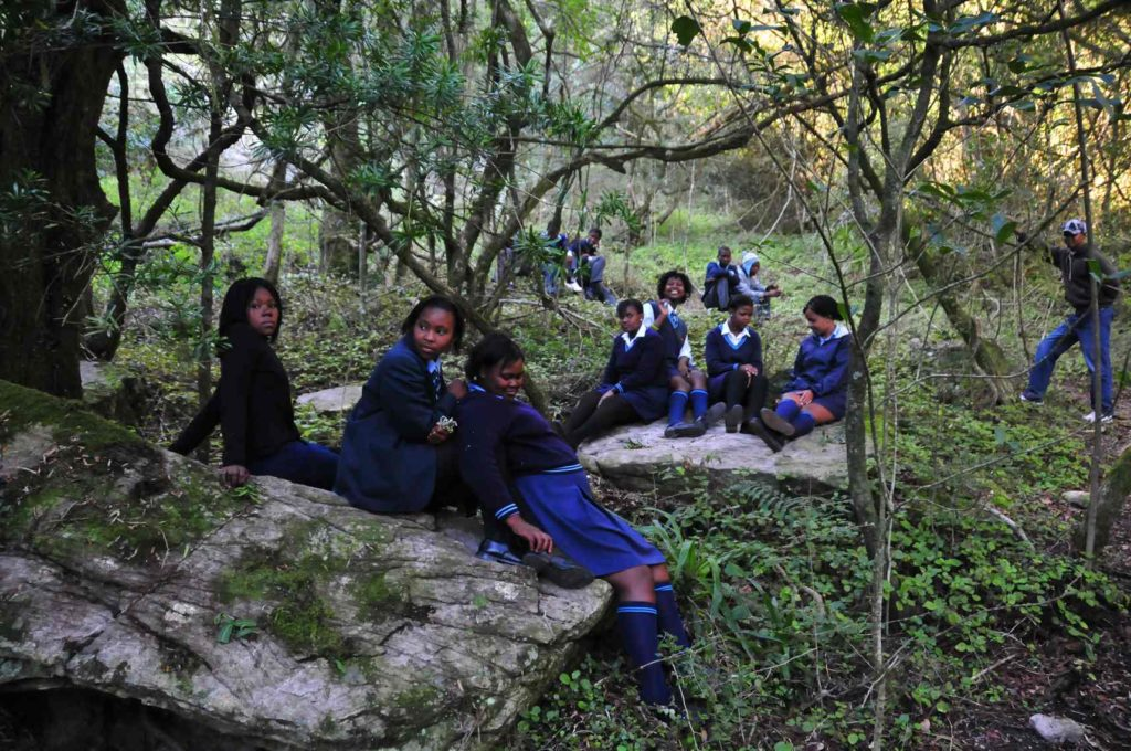 Young school pupils enjoying the quite of a forest, an activity facilitated by a program offered to school children in Grahamstown. Photo copyright: Tony Dold