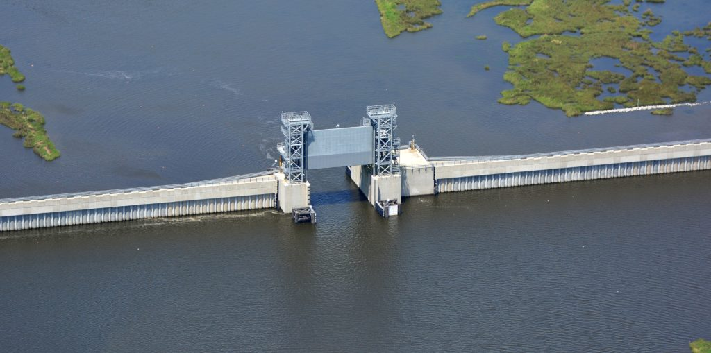 A gate open on a new storm surge barrier outside New Orleans. Photo credit: US Army Corps of Engineers.