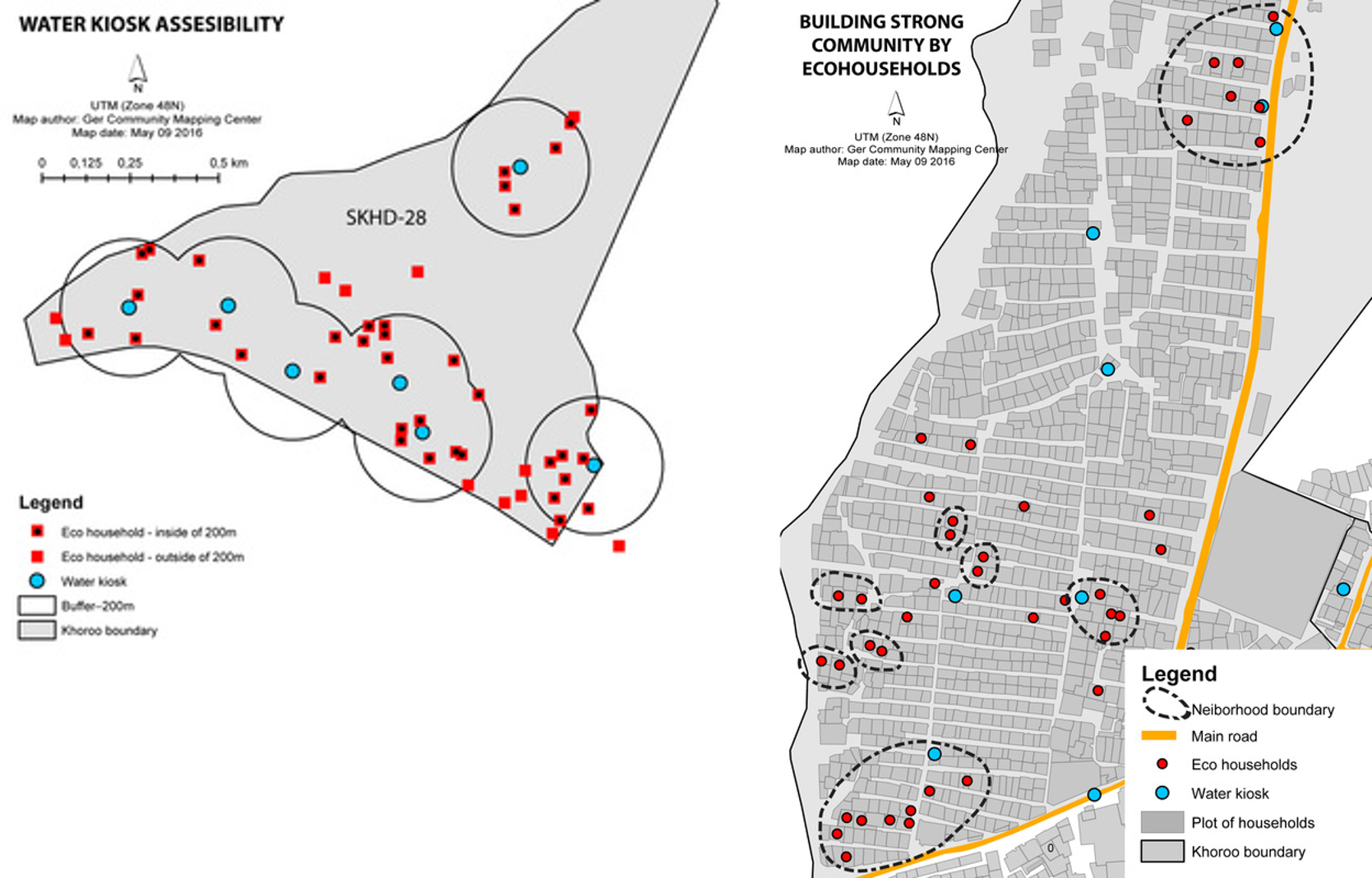 Eco households, water access and neighborhood in 2015. The map on the left illustrates the locations of household that plant either vegetables or berries are found within the service radius of 200 meters from water kiosks. The map on right illustrates the clustering phenomenon of households that plant either vegetables of berries indicating the importance of neighborhood influence in capitalizing on their plot of land. Courtesy of